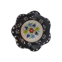 Hand Made Tile Patterned Daisy Shaped Kaolin Clay Quartz Limestone Bowl 8cm Black Colored Old Turkish Pattern Healty Gift