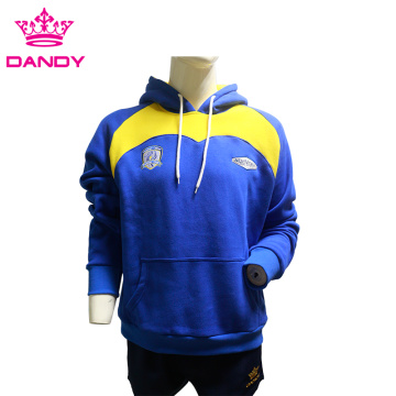 Blue cotton pullover hoodies