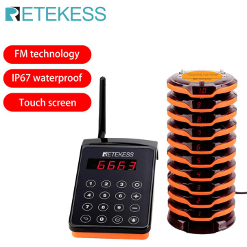 Retekess TD156 FM Restaurant Pager Wireless Calling System With 10 Pager Receivers For Restaurant Clinic Pager System