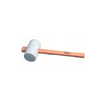 White rubber hammer with wooden handle  12oz