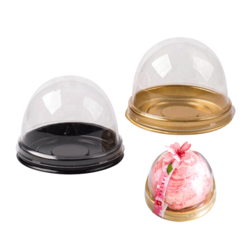 Black Base Round Lid Cupcake Clear Cake Box