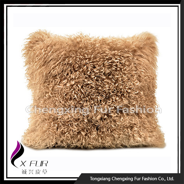 New Design Large Sofa Mongolian Lamb Fur Cushions