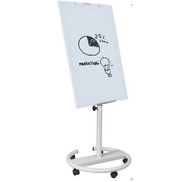 Office Mobile Tempered Glass Flip Chart Easel