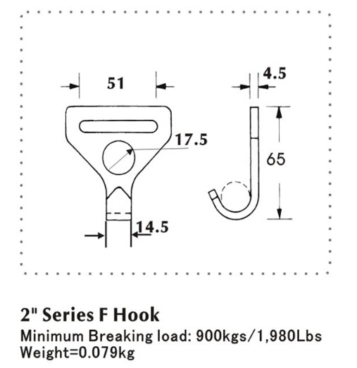 2 Inch Series Flat Hook with 900KG Capacity