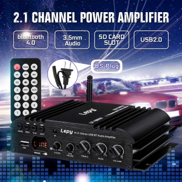 LEPY 168Plus Car Amplifier Speaker Power Subwoofer 2.1 Channel HiFi Amp Bass bluetooth Stereo Sound FM 19V 3A for Car Home