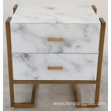 Bedside Glass with Marble Printed White Metal Frame