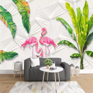 Nordic wallpaper small fresh tropical rainforest banana leaves flamingo background wall high-grade wallpaper mural