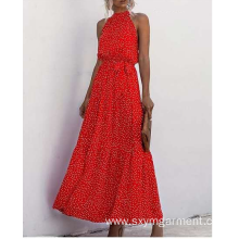Ladies viscose print long dress