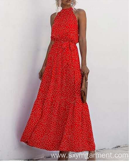 Ladies viscose print long dress in summer