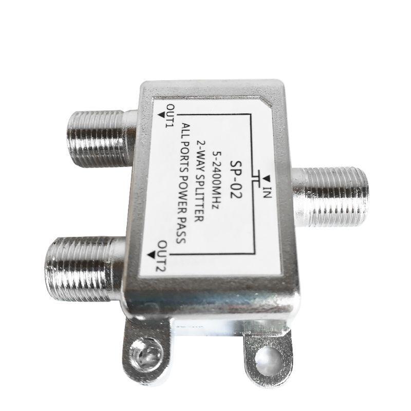 5-2400MHz 2 Way HD Digital Coax Cable Splitter Bi-Direction Satellite TV Signal Receiver Connector for SATV/CATV
