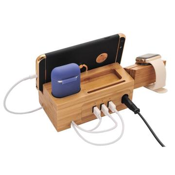 Charging Station for apple watch USB Charger Stand for iPhone Charging Dock Cable Management Wood Charging Station 3USB bamboo