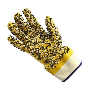 Chemical resistant Yellow pvc gloves with chips