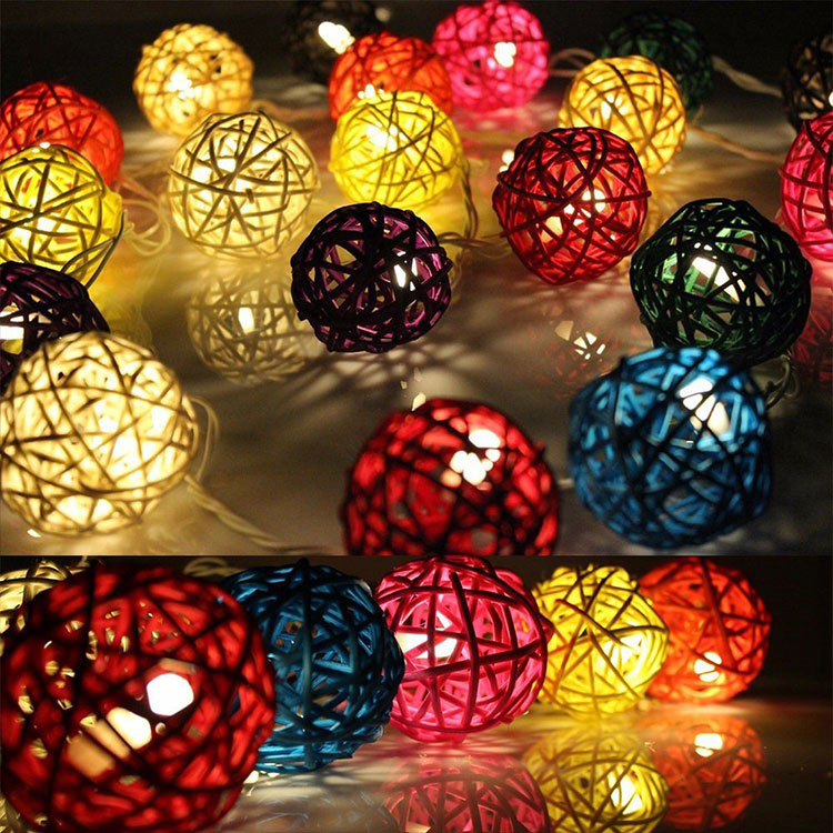 festive supplies rattan ball wedding string light for battery