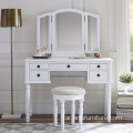 5 drawer white Dresser Dressing Room Partition Makeup Table With Mirror