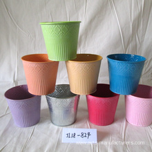 Metal Round Plants Flower Pot