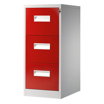 Red 3 Drawer File Cabinet