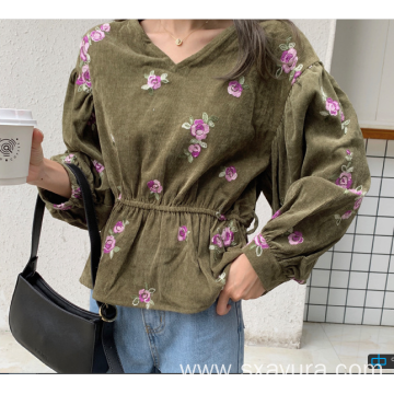 Autumn fashion casual V-neck embroidered top