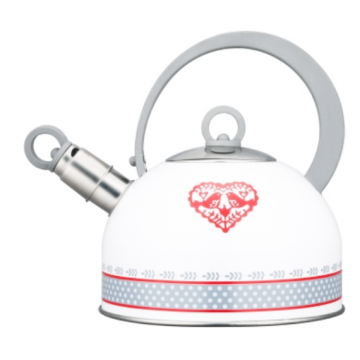 Whistle kettle with lovely heart-shaped painting