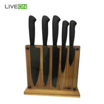 Stainless Steel 5pcs Kitchen Knives Set Wood Block