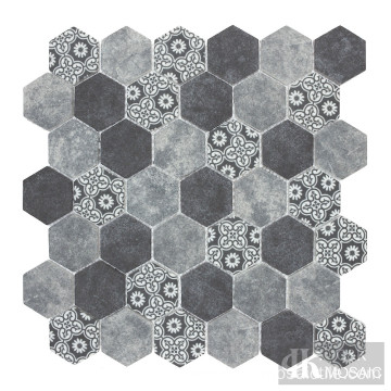 Mist Blue Matte Patterned Hexagon Mosaic