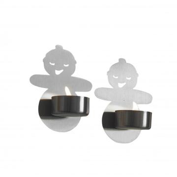 stainless steel wall candle holder set 2pcs