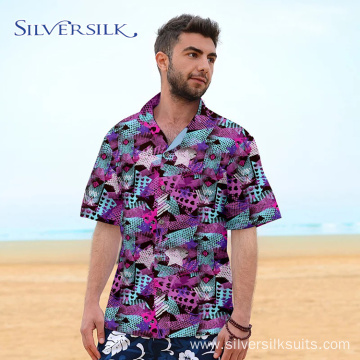 Polyester OEM hip hop printed pink men's shirts