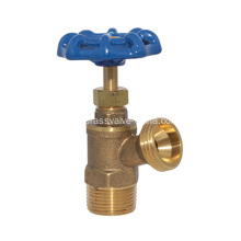 "3/4"" NPT Full Flow Blue Handle Wheel Brass Boiler Drain Valve"