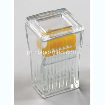 9PCS Glass Slide Staining Jar com tampas de vidro