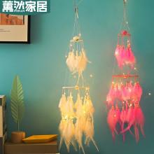 Feather Dream Catcher Pendant Craft Decor Circle Luminous Glow In Dark Car Car Ornament Dream Catcher S Baby Room Decoration
