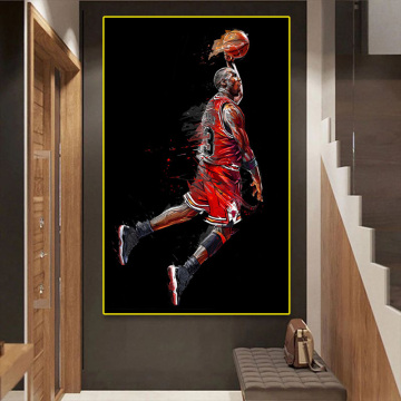 Abstract art painting Jordan fly slam dunk poster basketball wall picture for living room decoration sports canvas bedroom