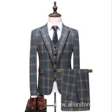 grid lapel big size men's suits bridegroom wedding tuxedo suits