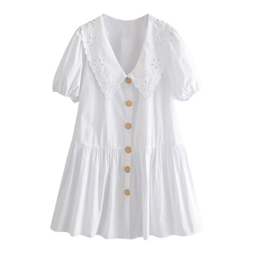 Fashion Embroidery Patches White Dress Women Lantern