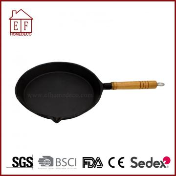 Cast Iron Skillet Fry Pan with Wooden Handle