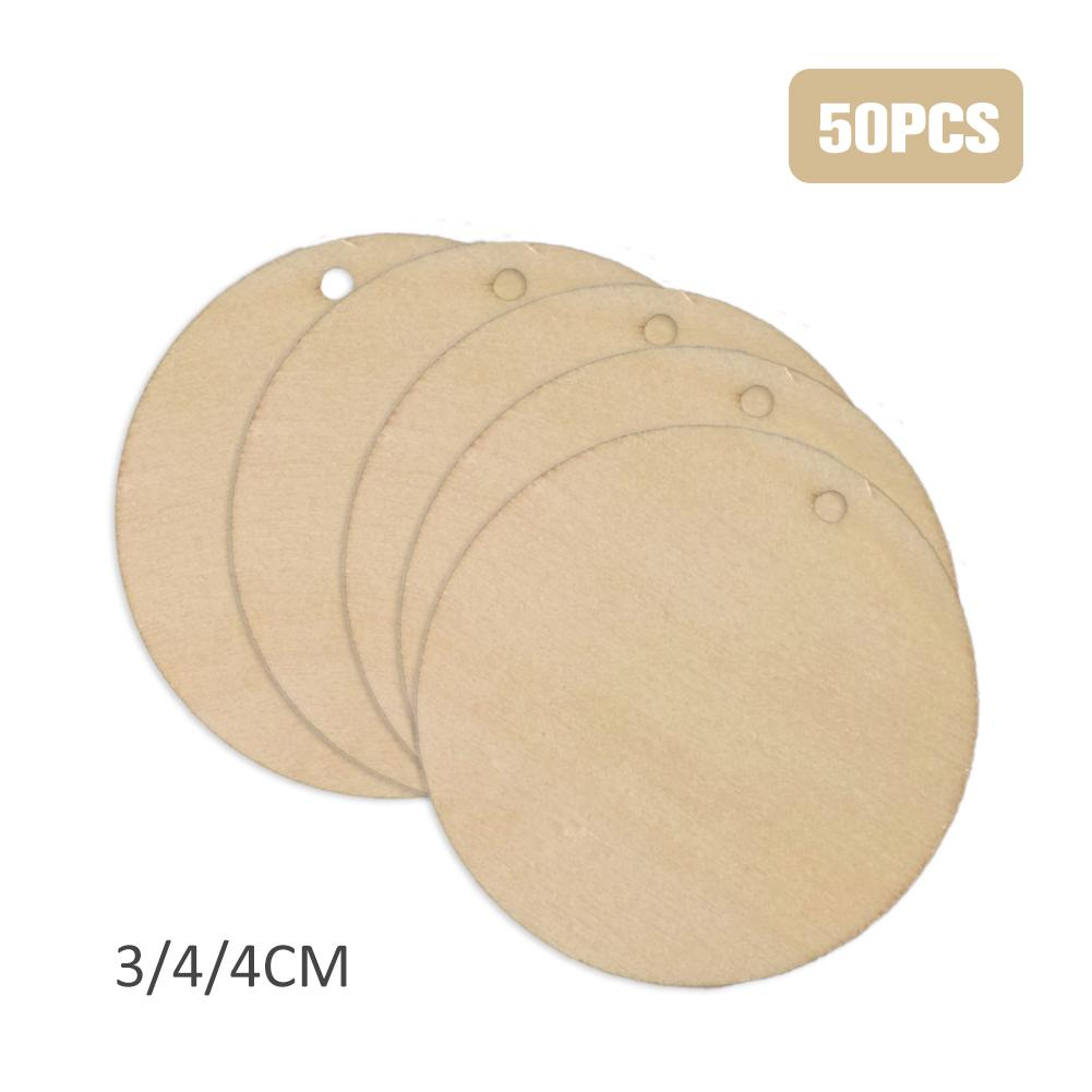 50pcs 3cm/4cm/5cm Unfished Blank Natural Shabby Chic Wood Circle Round Disks With 2 Hole Favor Tags Pendants DIY Crafts