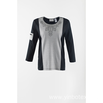 Ladies stretch pointy round neck pullover