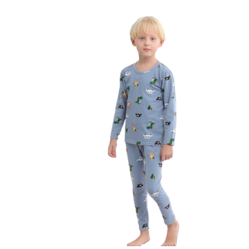 Boys Girls Unisex Long-sleeved Cotton Nightwear Pajamas Set
