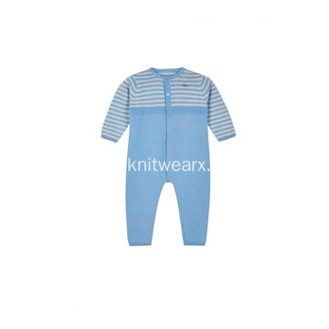 Boy's Girl's Knitted Stripe Buttoned Baby Pajamas Romper