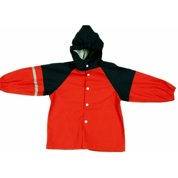PU Rain Jacket With Hood For Kids