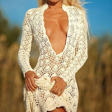 Super Sexy V Neck Crochet Dress