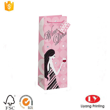Printed Wine Bottle Packing Paper Bag