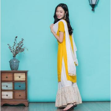 Woman Fashion Ethnic Styles Sets Cotton Embroidery India Kurtas Short Sleeves Long Yellow Thin Top Skirt