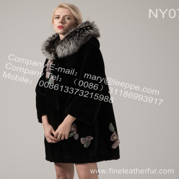 Lady Fur Coat With Mink Flower