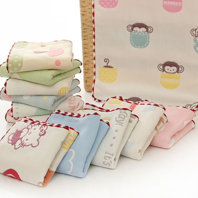 Factory direct selling six layers of children's lock edge cotton cotton children's gauze towel kindergarten water absorption face small towel (9)