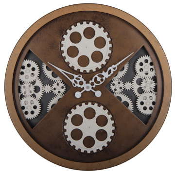 Gear Wall Clocks in Rustic Finishing