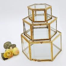 Storage Box Vintage Geometrical Glass Jewelry Box Retro Earring Ring Flower Plants Display Box Case Wedding makeup organizer