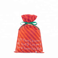 Christmas Red Non Woven Drawstring Striped Gift Bag