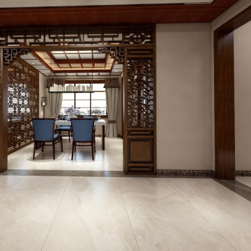 Cream marble effect porcelain wall floor tiles