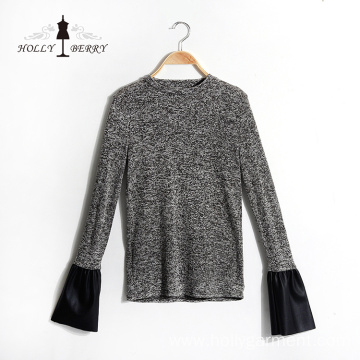 Casual Black White Flare Sleeve Hoodies Silk Blouse