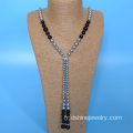 Noeuds de perle fait main bijoux Shell Long collier de perles