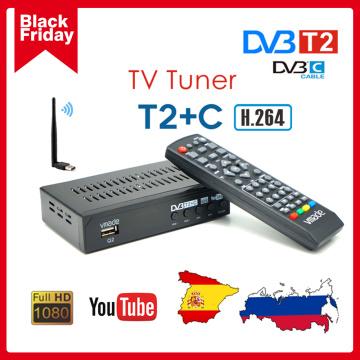 DVB-C Combo TV Tuner DVB T2 Terrestrial Digital TV Receiver H.264 Decoder Youtube Europe Russia Spain Set Top Box
